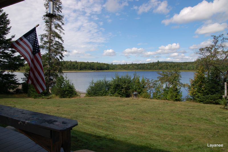 Sunshine view of lake from porch